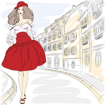 Top modelo linda garota fashion com vestido de verão em uma rua da cidade