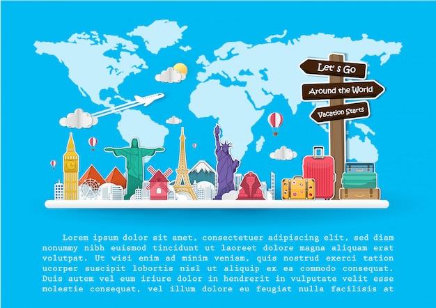Top mundialmente famoso marco viajar ao redor do mundo.