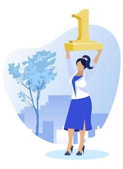 Top trabalhador de mulher segurando uma figura dourada um no alto