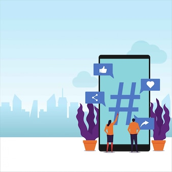 Tópicos de tendências vetor plana conceito casal segurar telefone em torno de etiqueta de hash grande.