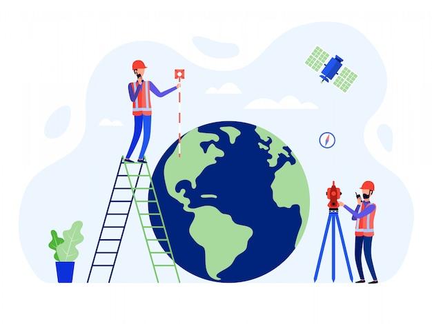 Topógrafos conceituais, geodesistas e engenheiros terrestres usando a estação total, teodolito, globo.