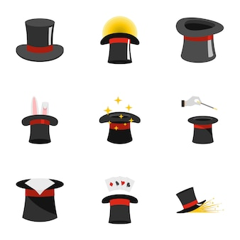 Topper icons set, flat style