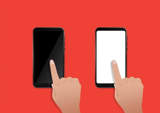 Toque da mão na tela do smartphone