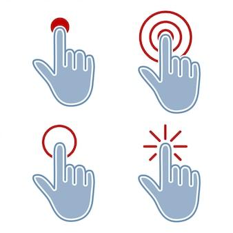 Toque e clique em conjunto de ícones web plana isolado