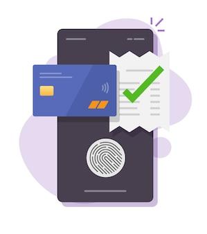 Toque em tecnologia de fatura de conta de pagamento de impressão digital via cartão de crédito, telefone celular smartphone