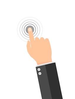 Toque o ícone do dedo na tela.
