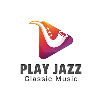 Toque o logotipo da música jazz. design de logotipo clássico de música gradiente.
