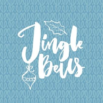 Toque todo o caminho. cartão de natal com citação de música. escove a caligrafia sobre fundo azul de malha.