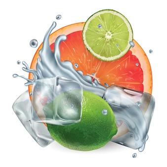 Toranja e limão com cubos de gelo e respingos de água
