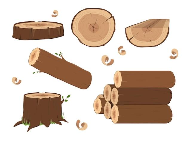 Toras de madeira serrada e troncos de árvores isolados no branco