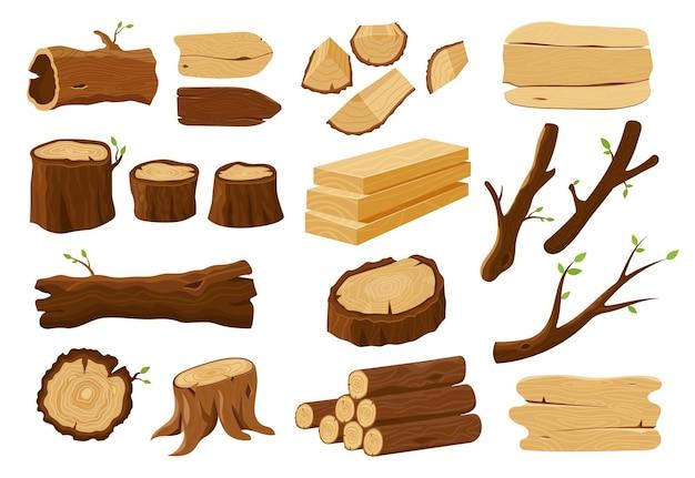 Toras de madeira, tocos de árvores e elementos de madeira serrada.