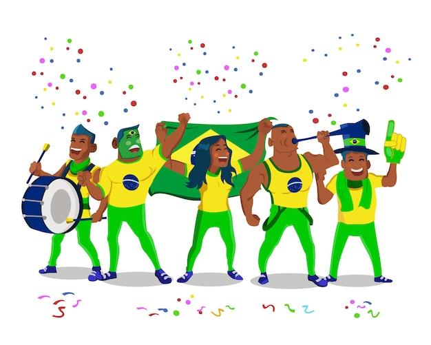 Torcedores alegres da seleção nacional de futebol do brasil