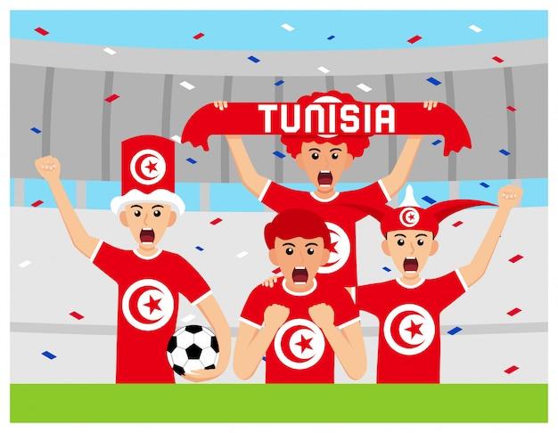 Torcedores da tunísia em design plano