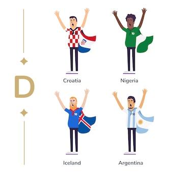 Torcedores de futebol apoiar as equipas nacionais