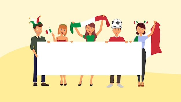 Torcedores italianos com faixa em branco apoiam o time italiano de futebol para a próxima partida