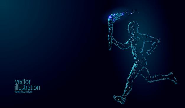 Torchbearer segurar fogo tocha atleta executar ilustração