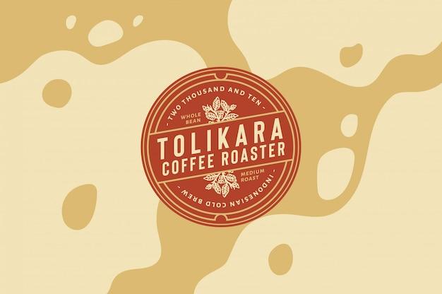 Torik coffee roaster logo template texto, cor e contorno totalmente editáveis
