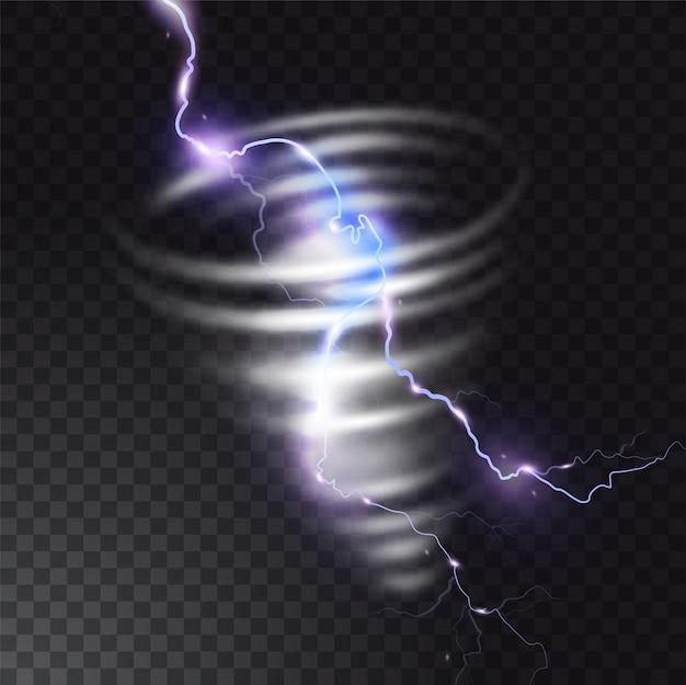 Tornado com ilustração de relâmpago de raio realista luz flash no furacão twister. vórtice de ciclone de vento em tempo de tempestade.