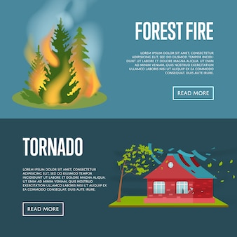 Tornado e incêndio florestal banners web conjunto.