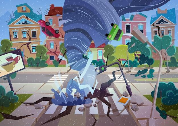 Tornado giratório na aldeia. furacão destruindo casas e ruas. ilustração dos desenhos animados do conceito de desastre natural