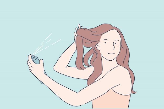 Tornando o conceito de procedimento de beleza de volume de cabelo penteado