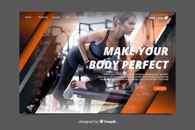 Torne seu corpo perfeito na página de destino da promoção da academia