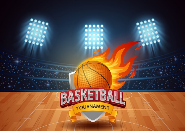 Torneio de basquete com fundo do estádio.