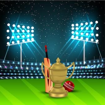Torneio de campeonato de críquete com troféu e taco