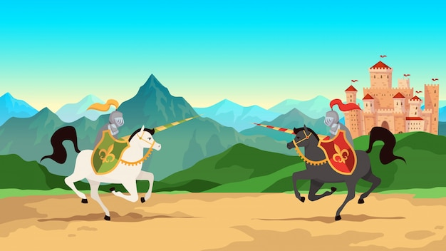 Torneio de cavaleiro. batalha entre guerreiros medievais em armadura de metal com armas de lança andando a cavalo.