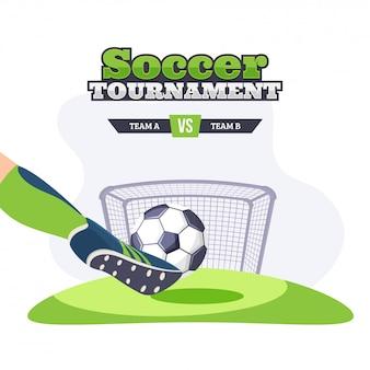 Torneio de futebol. jogador chutando a bola de futebol com equipe competitiva