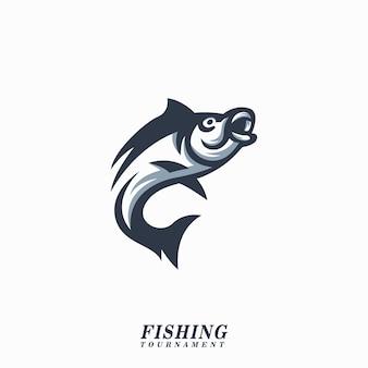 Torneio de pesca de ilustração de logotipo de peixe Vetor Premium