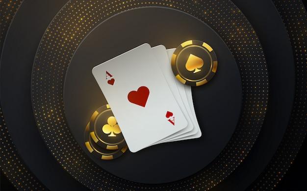 Torneio de poker. ilustração. quatro cartas de baralho com fichas de jogo em fundo preto com brilhos cintilantes.
