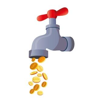 Torneira bitcoin. torneira de água com moedas, ilustração vetorial