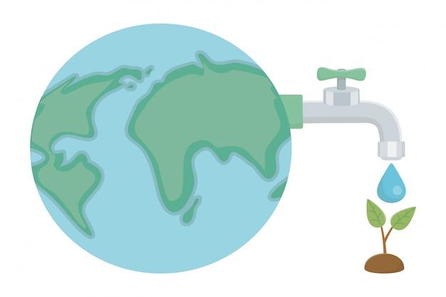 Torneira de água com design de gota e planeta