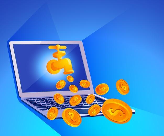 Torneira de água com moedas de dinheiro e vetor de laptop