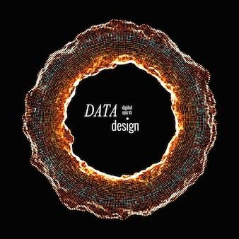 Toróide deformado. quadro arredondado para cyber, digital, ciência, design de conceito de grande volume de dados