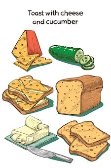 Torrada de esboço de cor com queijo e pepino
