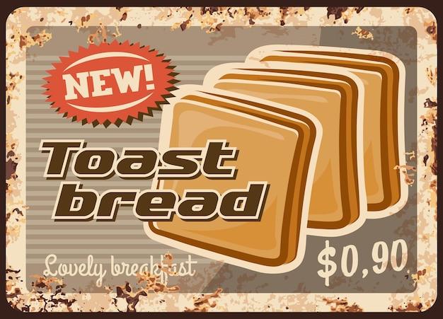 Torrada de pão, placa de metal de padaria enferrujada, comida assada