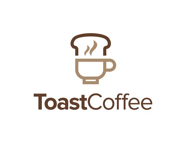 Torrada e xícara de café delineiam um logotipo simples e elegante, criativo, geométrico e moderno