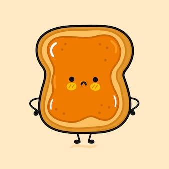 Torrada fofa e triste com personagem de manteiga de amendoim