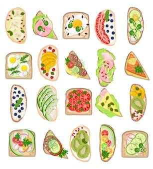 Torrada saudável comida torrada com pão queijo legumes ovo lanche para café da manhã conjunto de ilustração de delicioso sanduíche com tomate fatiado e salsichas cortadas frutas isoladas no fundo branco