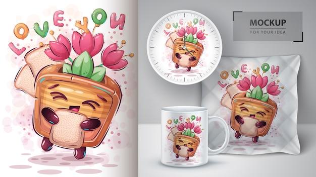 Torradeira com pôster tulipa e merchandising
