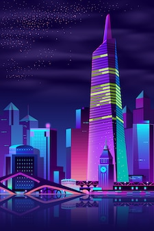 Torre brilhante no rio, cidade grande