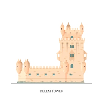 Torre de belém, hora de viajar ilustração vetorial de qualidade