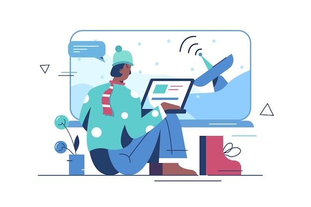 Torre de comunicação móvel e internet. antenas de telecomunicações com sinal. cara navegando na internet no estilo simples do laptop. lans sem fio de pólo elétrico sinalizam transmissão de energia