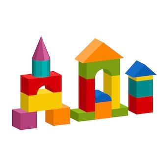 Torre de construção de brinquedo de blocos coloridos, castelo, casa