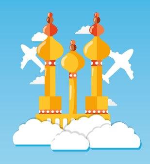 Torre de moscou com avião e viagem na nuvem
