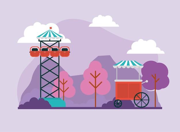 Torre de queda livre e carrinho de comida em diversão