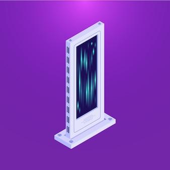 Torre de servidor de banco de dados plano isométrico