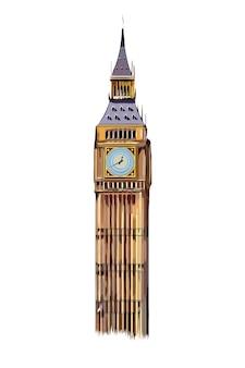 Torre do big ben de londres com tintas multicoloridas respingo de aquarela colorido desenho realista